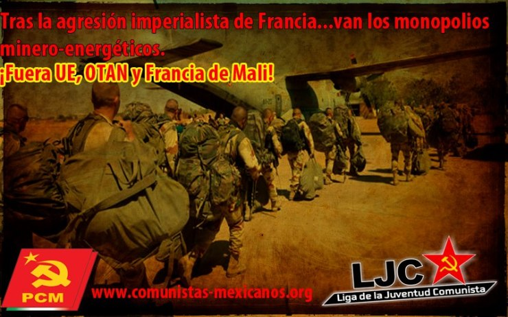 Imagen: El @comunistamexico contra la invasión en Mali
