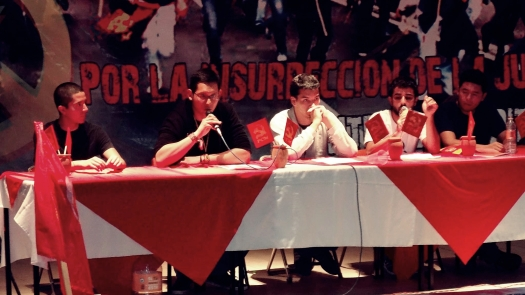 Delegados internacionales presentan sus saludos a las juventudes comunistas de México. Foto: Cortesía
